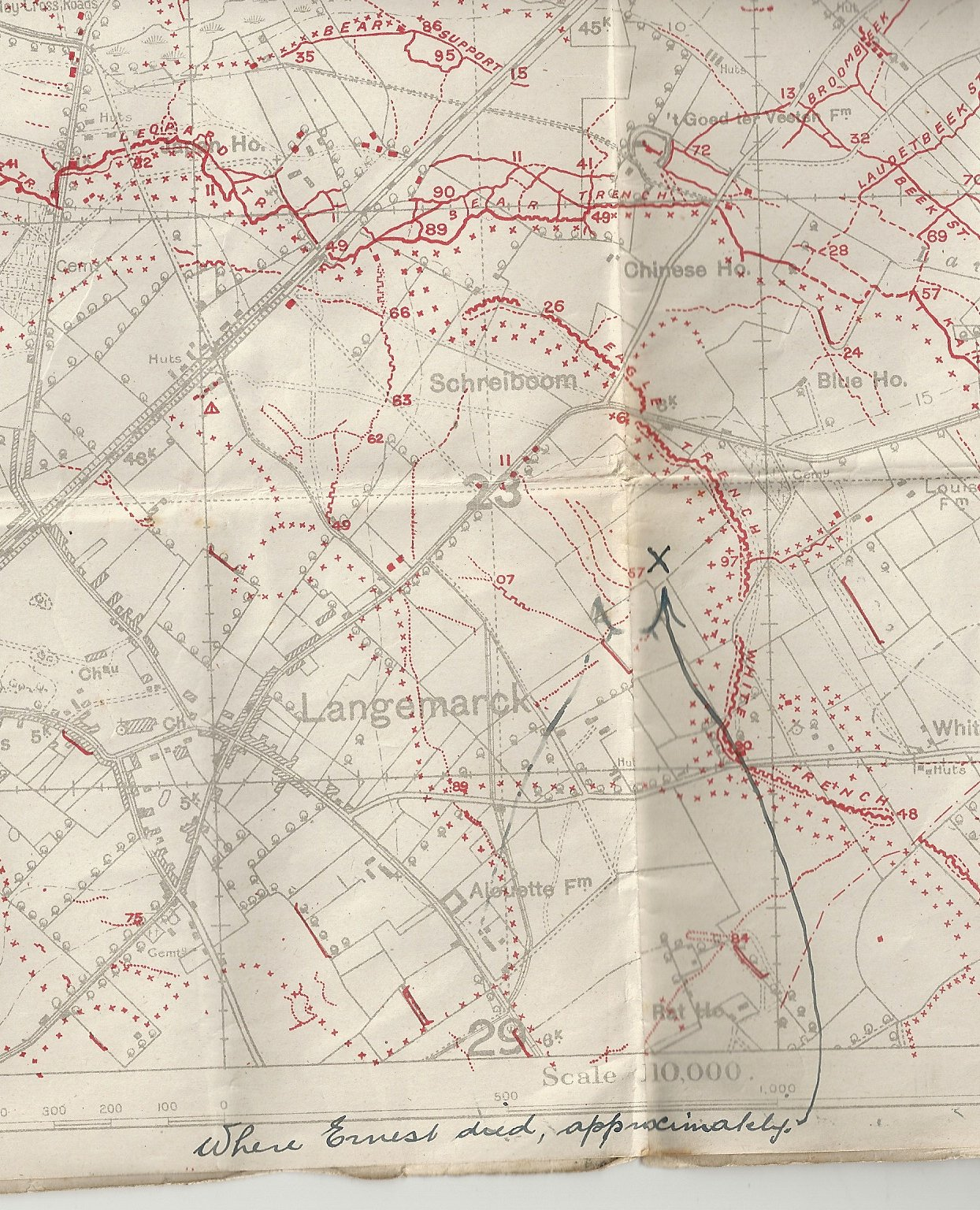 Ernest Brooks map of trenches