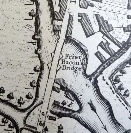 Folly Bridge Taylors Map of 1750 updated by Faden 1789