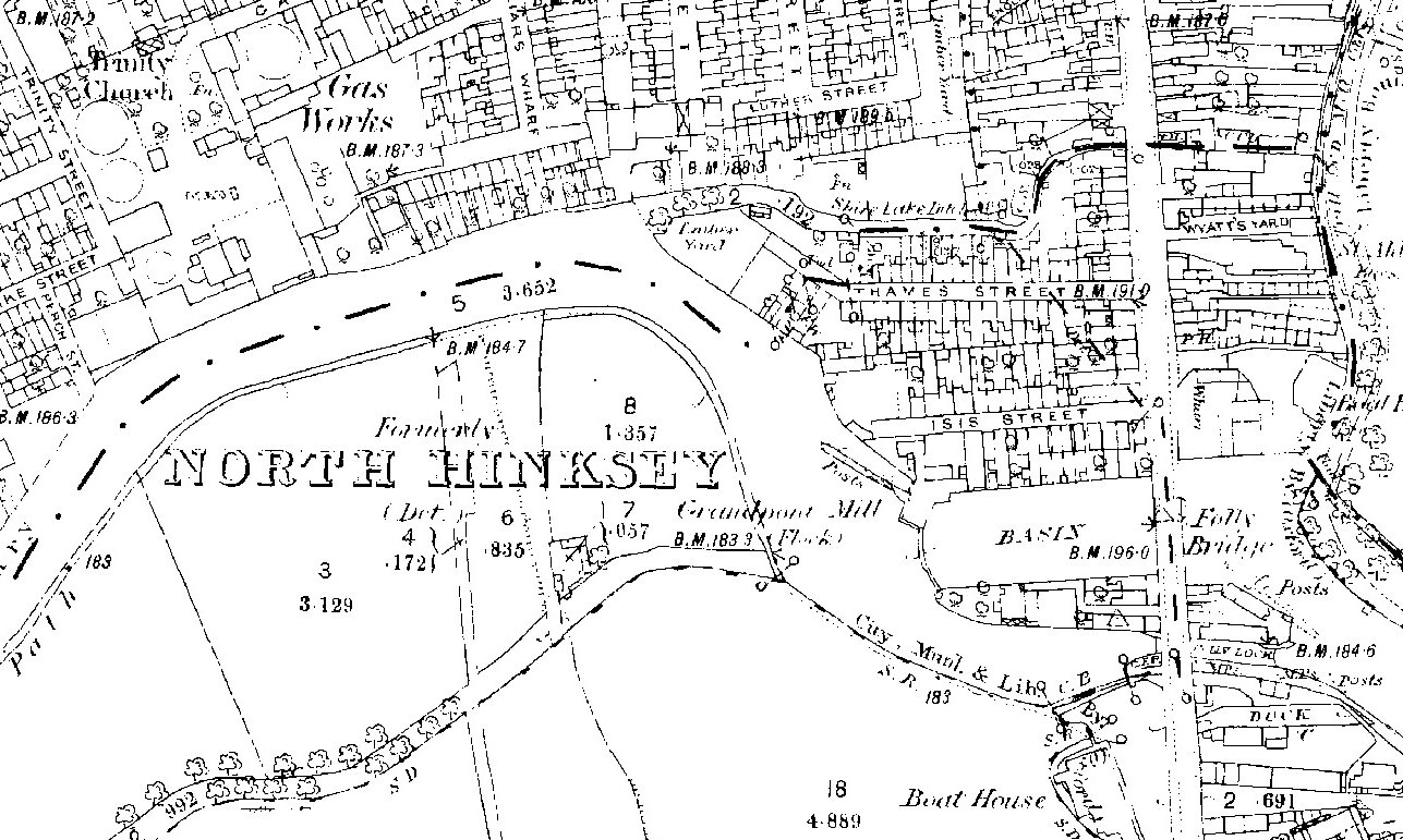 South Oxford OS 1878 extract of Folly Bridge island and land to west
