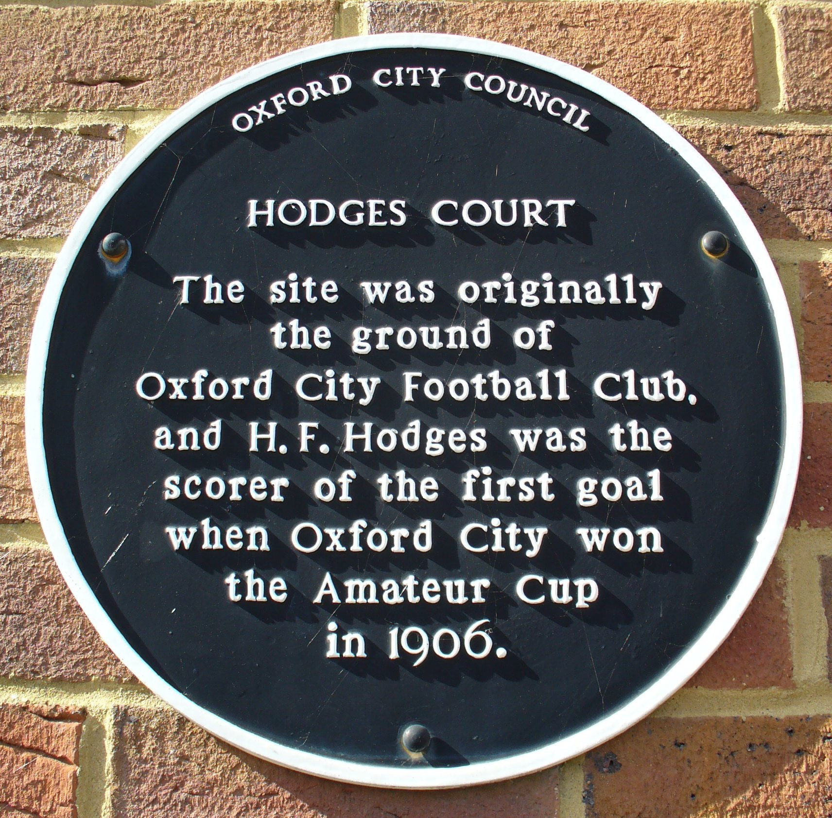 Hodges Court plaque