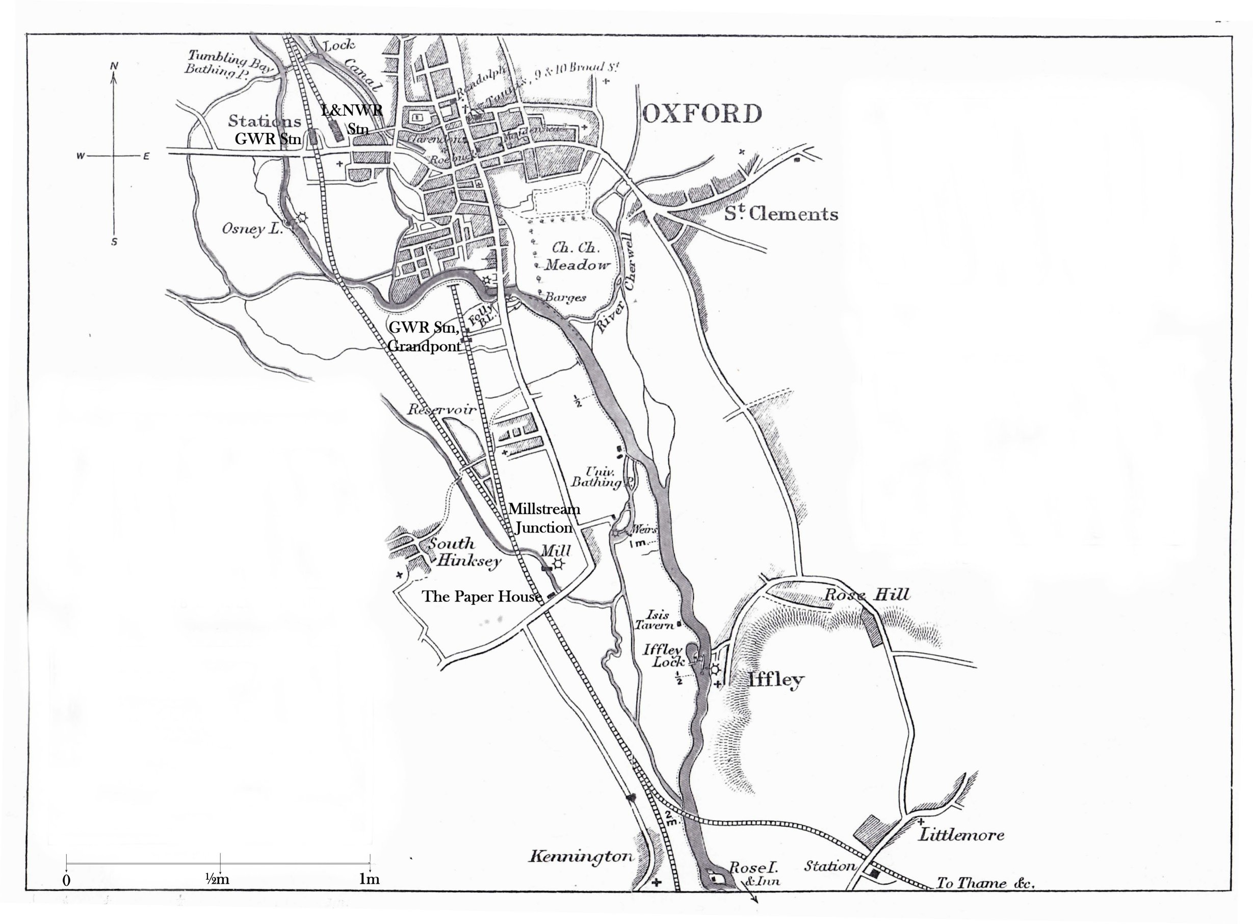 Taunt map of Thames in Oxford 1879 with additional labels smaller