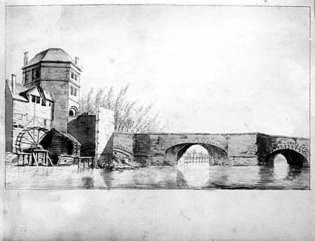 Folly Bridge waterwheel and Friar Bacons study HT10300